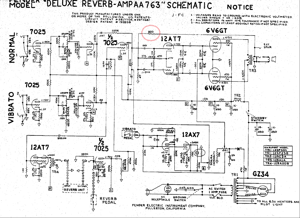 Bf Sf Pro Reverb 40w Amplifier Circuit Schematic Layout