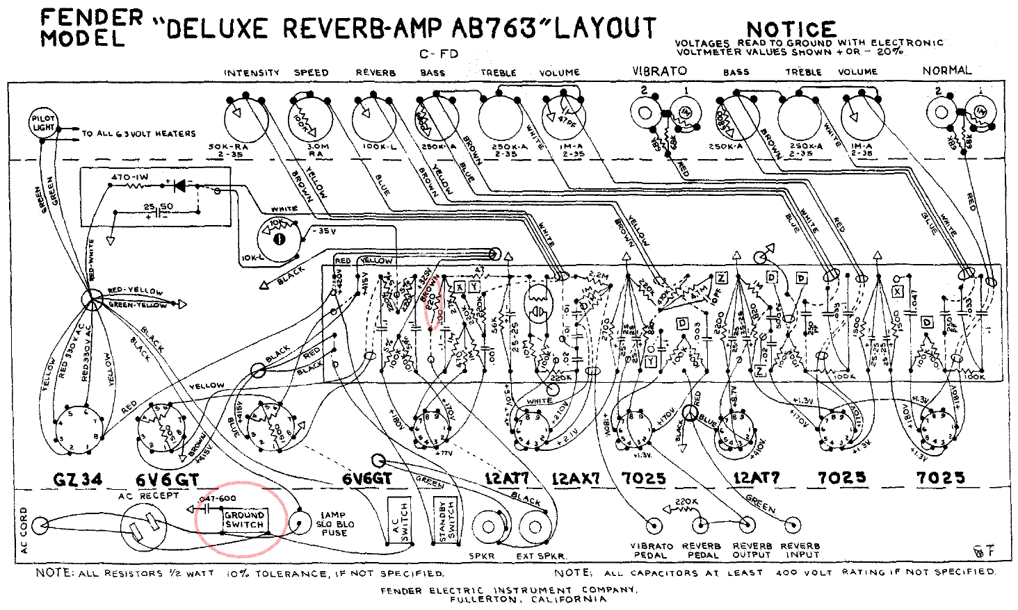 Deluxe Reverb AB763 NBF layout bf sf pro reverb fenderguru com fender super reverb speaker wiring harness at alyssarenee.co