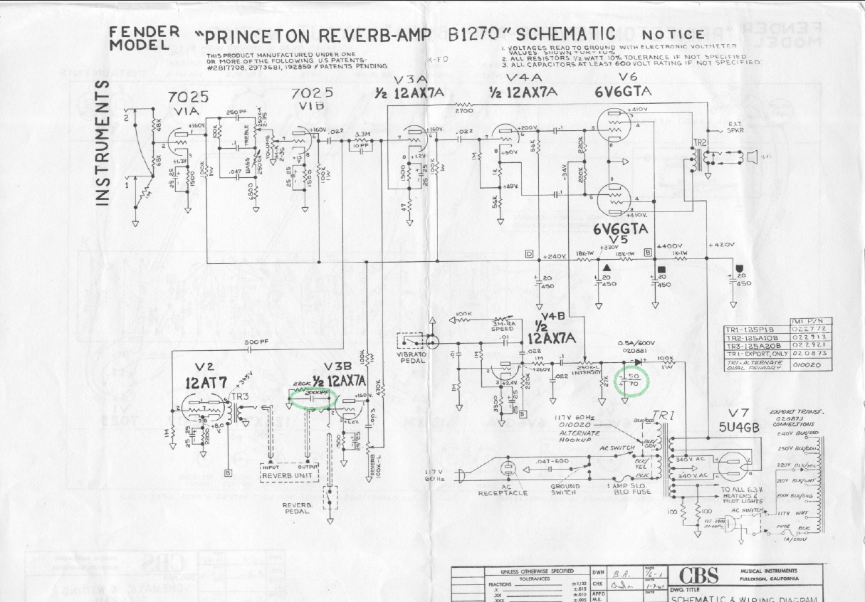 Bf Sf Princeton Reverb 2 Amp Wire Diagram Layout