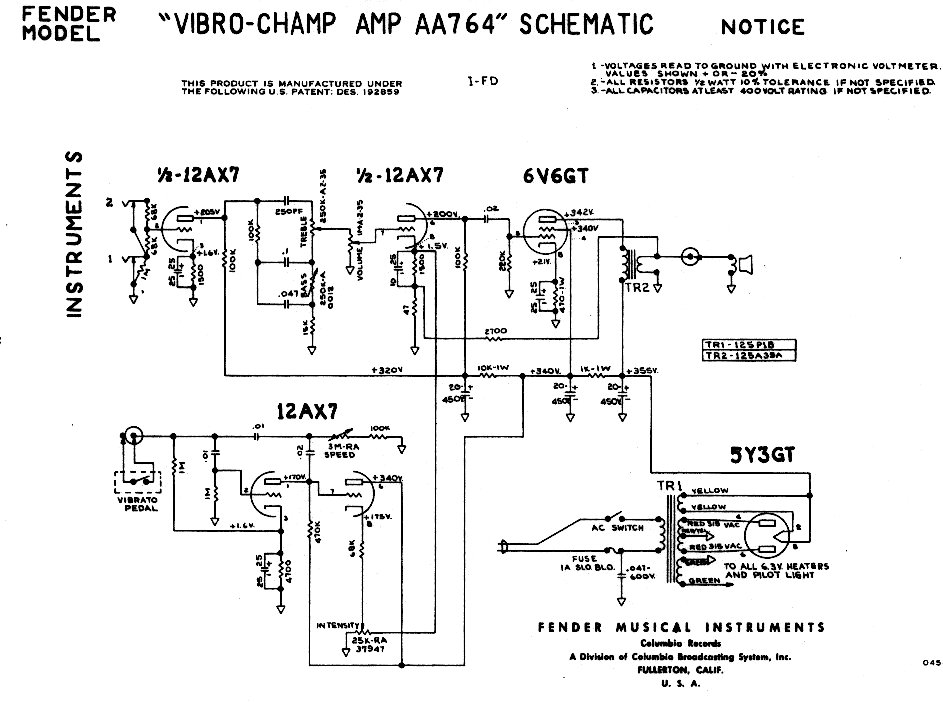 Fender Champ Wiring Diagrams | Wiring Diagram on